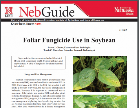 Cover of new Extension publication, Foliar Fungicide Use in Soybean