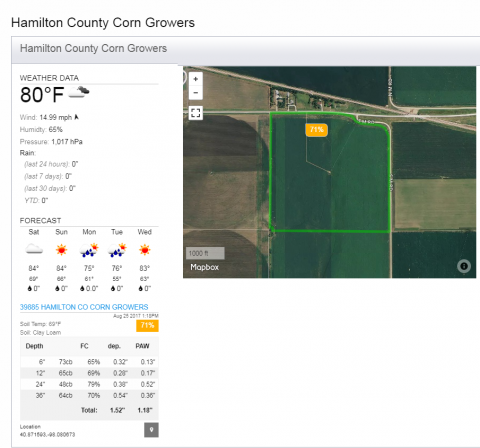 Screen capture of irrigation scheduling system