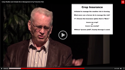 Screen capture of Elwynn Taylor on using climate data to manage production risk