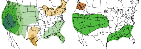 US precipitation forecast maps