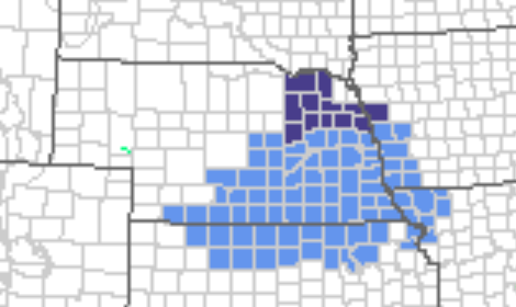 Nebraska map indicating those counties under a frost/freeze warning April 26.