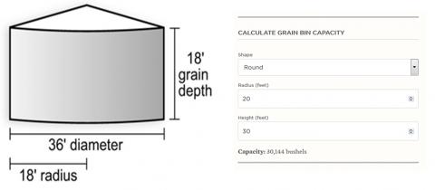 Grain bin calculator and illustration