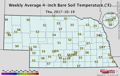 Nebraska soil temperature map