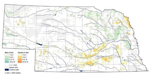 Figure 1. The Nebraska Statewide Groundwater-Level Monitoring Report shows groundwater-level changes in Nebraska from spring 2016 to spring 2017.