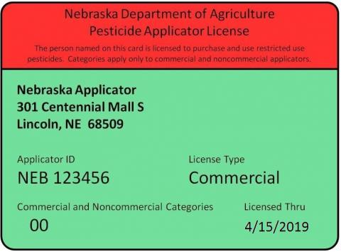 Commercial/non-commercial pesticide applicator license