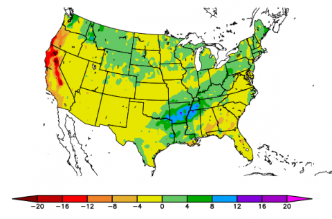 US map showing winter departure from normal precipitation