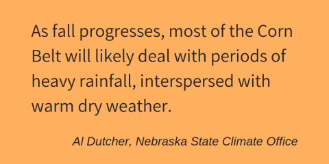 "Quote from the author, Al Dutcher: ""As fall progresses, most of the Corn Belt will likely deal with periods of heavy rainfall, interspersed with warm dry weather."""