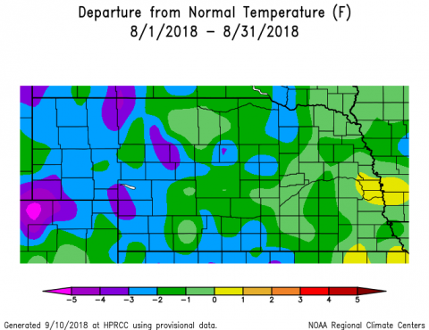 Nebraska map showing departure from normal precipitation