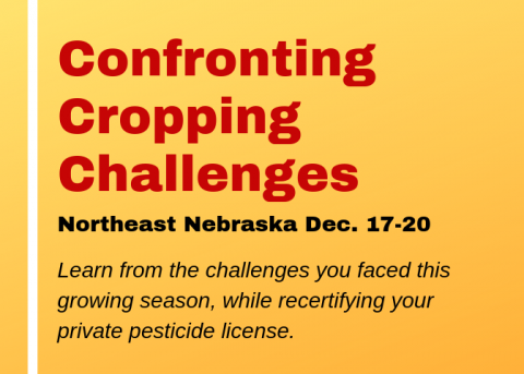 Card promoting the Confronting Cropping Challenges meetings