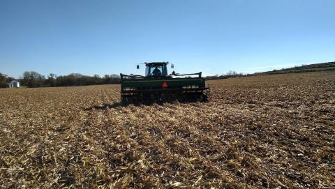 Figure 1. Drilling cereal rye into corn stubble in Dodge County, October 19, 2018.