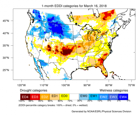 One-month EDDI drought monitor