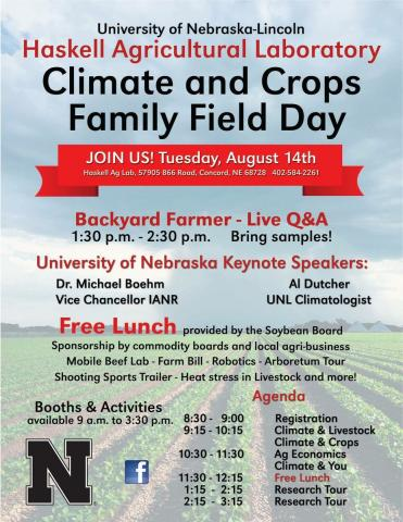 Flyer for 2018 UNL Haskel Ag Laboratory Open House