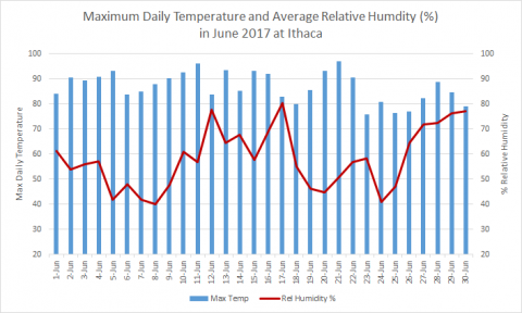 Daily temperature and maximum humidity at Ithaca