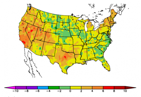 US map indicating departure from normal temperatures for July 2018.