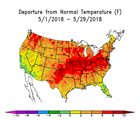 US map showing departures from normal temperatures in May