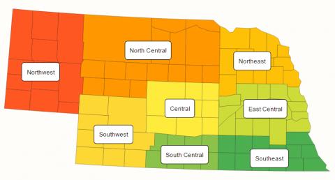 Nebraska map showing USDA ag districts