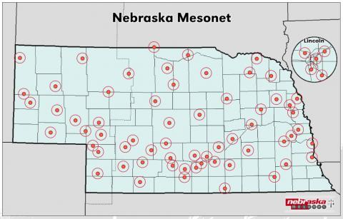 Sites reporting weather data to Nebraska Mesonet