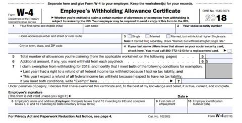 W4 tax withholding form