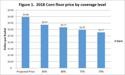 Corn floor price by coverage level for 2018 revenue protection coverage