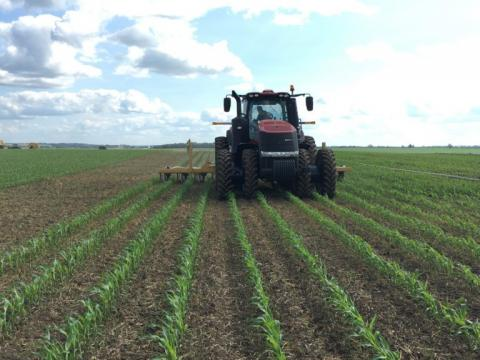 Figure 1. Manure being applied in a corn field, using a drag-hose system. Learn more in this month's Soil Health Nexus Blog article.