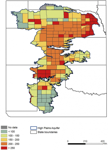 Multi-state map of counties showing agricultural value of irrigation water per acre ($/ac) in 2007.