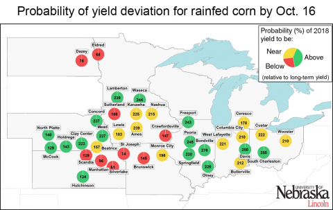 Map indicating end-of-season deviations from average corn yields for select sites in the Corn Belt