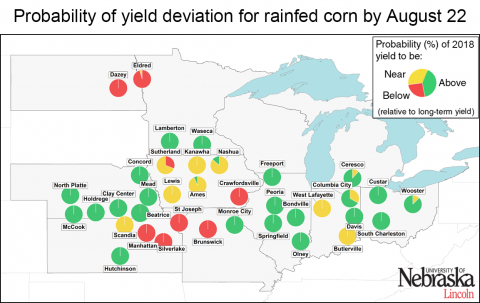 Map of the Corn Belt showing sites with above-, near-, and below-normal forecasted corn yields for 2018.