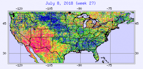 Map of vegetative health index in the Corn Belt  for July 8, 2018