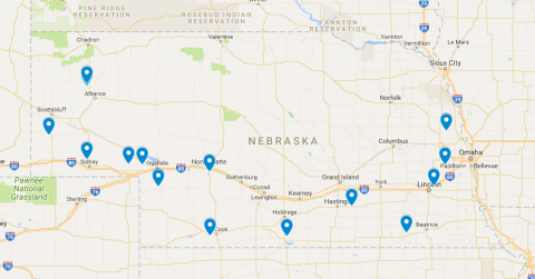 Map of 2018 Winter Wheat Field Day Sites in Nebraska