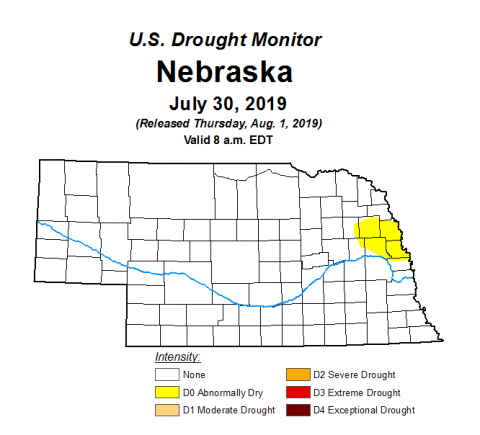 Aug. 1 Drought Monitor shows abnormally dry areas in east central Nebraska