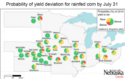Forecast yield deviations from normal for rainfed corn across the Corn Belt