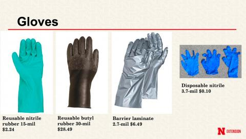 Different types of gloves work better for different types of pesticide applications.