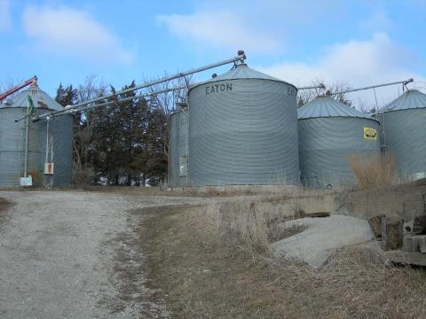 Grain bins on a farm