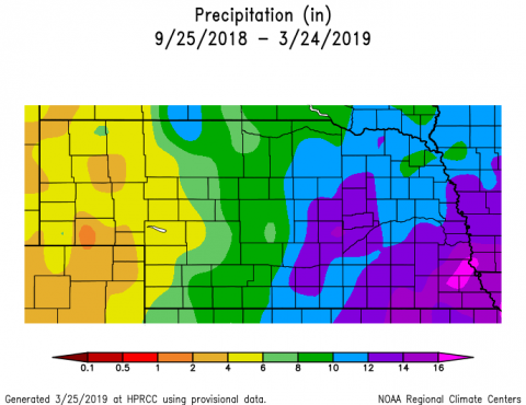 Nebraska map showing departure from normal precipitation in inches for the last 6 months (9/25/2018 through 3/24/2019, generated on 3/25/2019 at HPRCC)