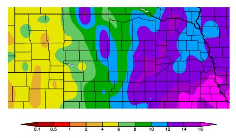 Nebraska map showing winter precipitation recharge.
