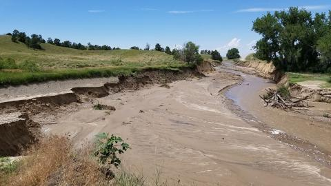 Area of the North Platte River canal where the break occurred July 17.