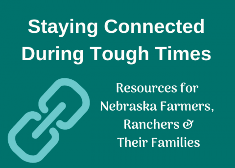Graphic linking to resources on Staying Connected During Tought Times Resources for Nebraska Farmers, Ranchers, and their Families
