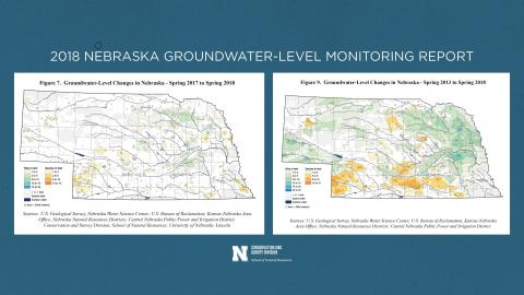 Two maps showing groundwater level changes in Nebraska