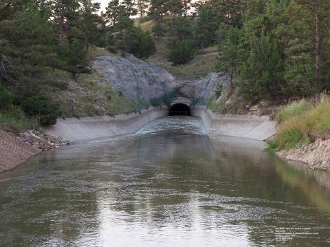 Water is flowing again at the tunnel entrance on the Gering-Fort Laramie and Goshen Irrigation Canal