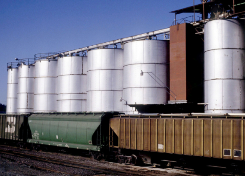 Train cars at a grain elevator