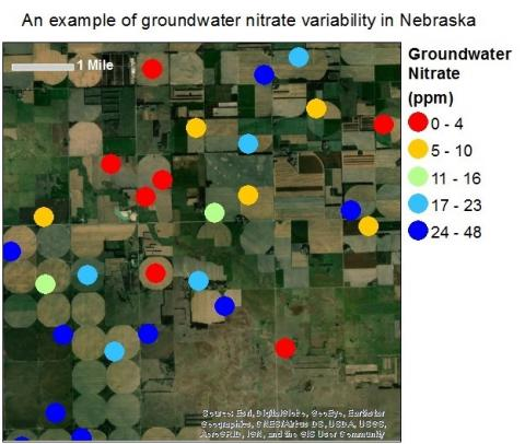 Illustration of groundwater nitrate variability in Nebraska