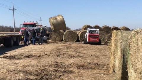 Donated hay bales accumulate at the Eastern Nebraska Research and Extension Center near Mead. (Photo by Deloris Pittman - Nebraska Extension)