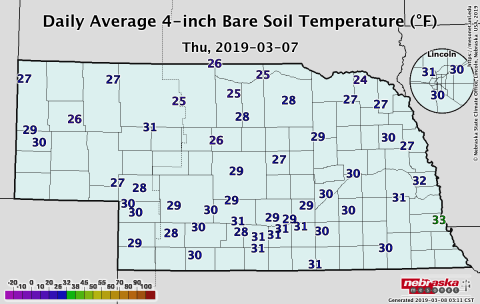 Nebraska map showing soil temperatures on March 7, 2019