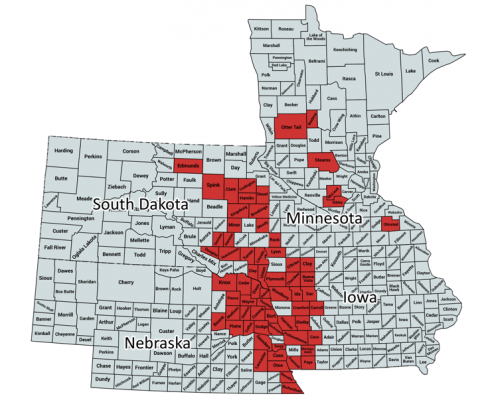 Map showing distribution of soybean gall midge