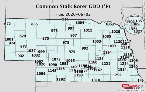 map showing GDD accumulation in Nebraska