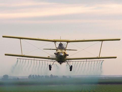 aerial pesticide application from a plane