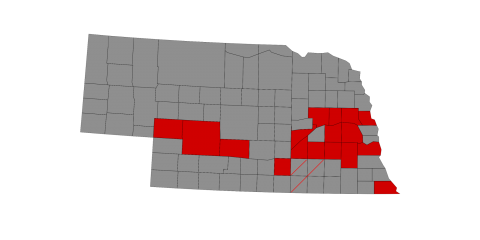 Location by county for soybean seeding rate studies