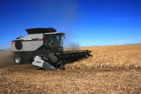 custom combine harvesting a field
