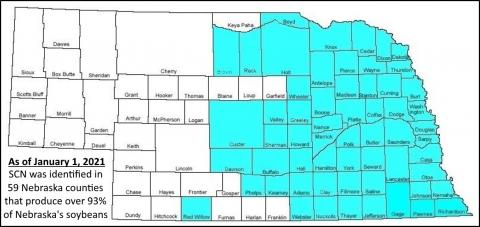 Map of SCN-infected Nebraska counties