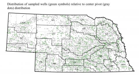 Sampled wells and pivots map